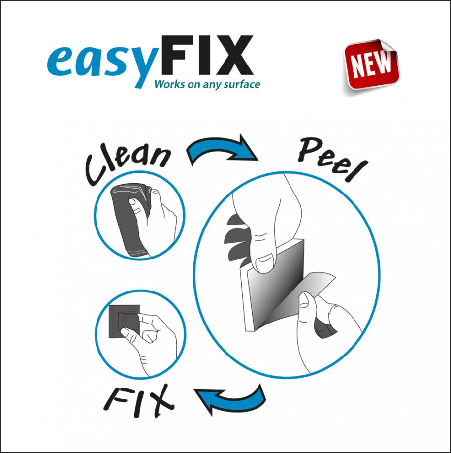 EF058 easyFIX Sticker System (Multipurpose Plastic Shelf) / Chrome
