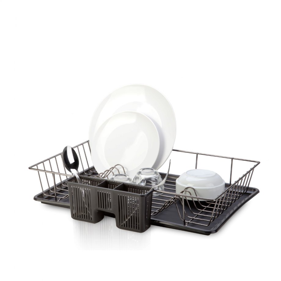KB003B Dish Drainer  with Cutlery and Tray / Black Chrome