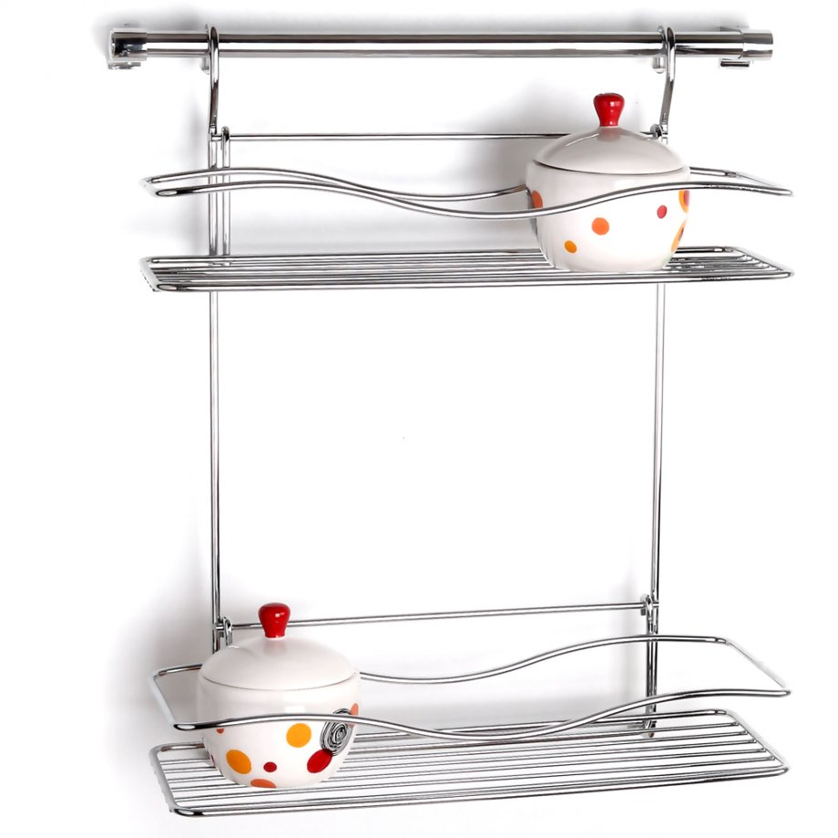 MG042 Spice Racks Two Tiers with 40 cm Rail / Chrome