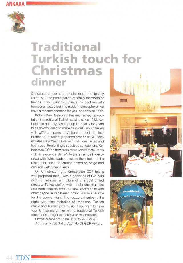 Aralık 2007- Turkish Daily News- Traditional Turkish Touch for Christmas Dinner
