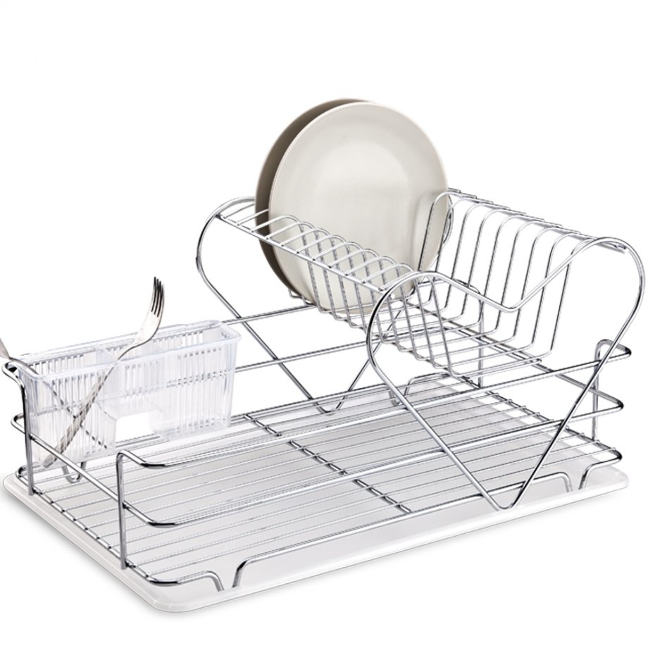 KB011 Dish Drainer Two Tiers with Cutlery and Tray / Chrome