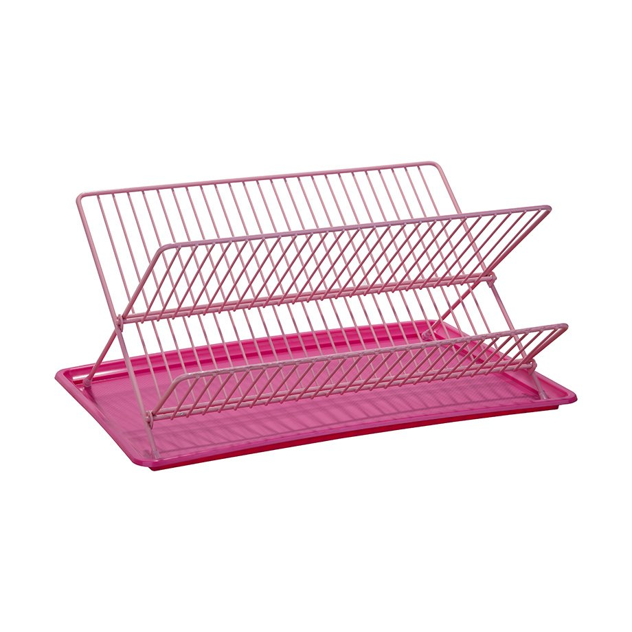 KB004 Dish Drainer Two Tiers, Foldable with Cutlery and Tray / Pink