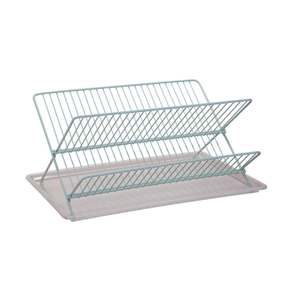 KB004 Dish Drainer Two Tiers, Foldable with Cutlery and Tray / Mint Green