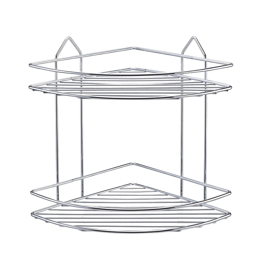 BK002 eco Bath Corner Shelf Two Tiers 4mm / Chrome