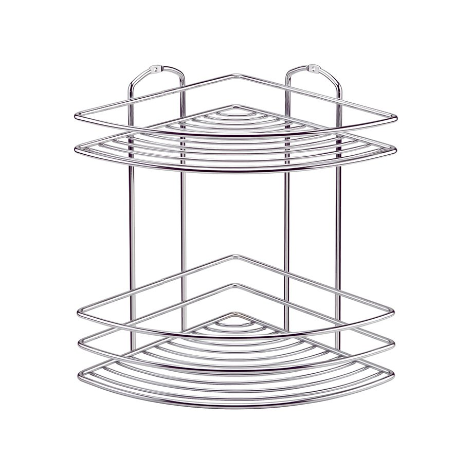 BK022 Bath Corner Shelf Two Tiers 5mm / Chrome