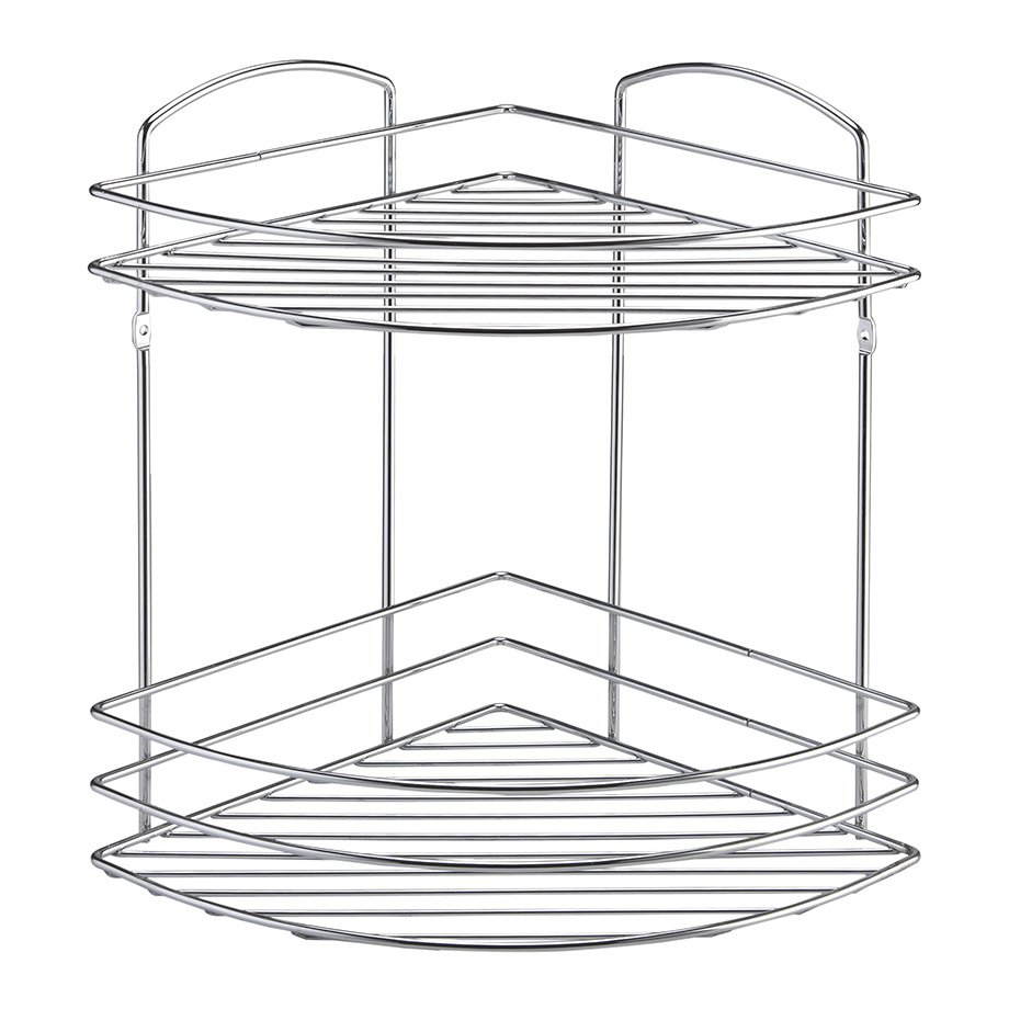 BK032 Bath Corner Shelf Two Tiers 5mm / Chrome