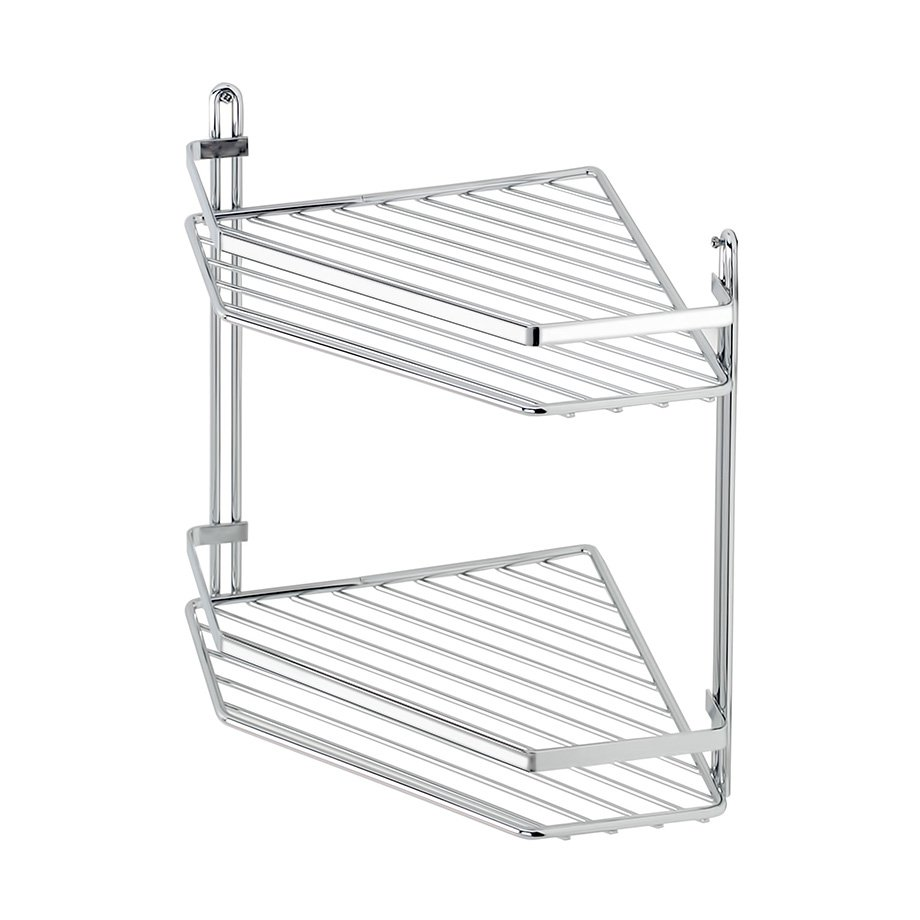 ES075 Bath Shelf Sheet Bar Two Tiers 5mm / Chrome