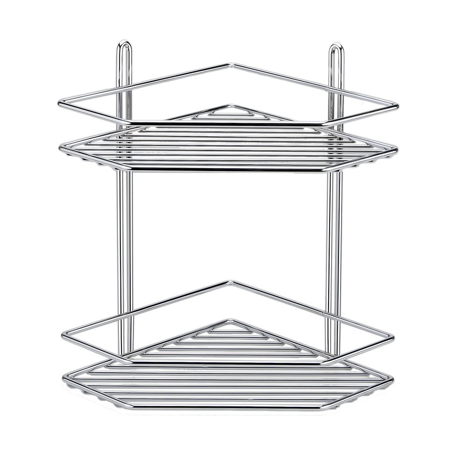 ES072 Bath Corner Shelf 2 Tiers 5 mm / Chrome