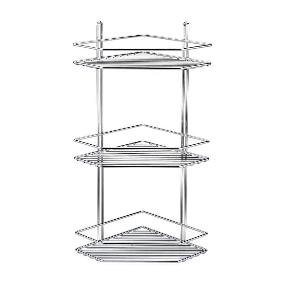 ES073 Bath Corner Shelf 3 Tiers 5mm / Chrome