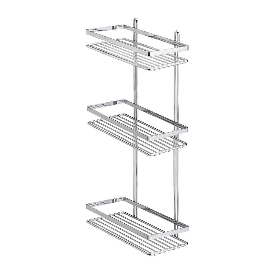 ES065 Bath Shelf Sheet Bar 3 Tiers 5mm / Chrome
