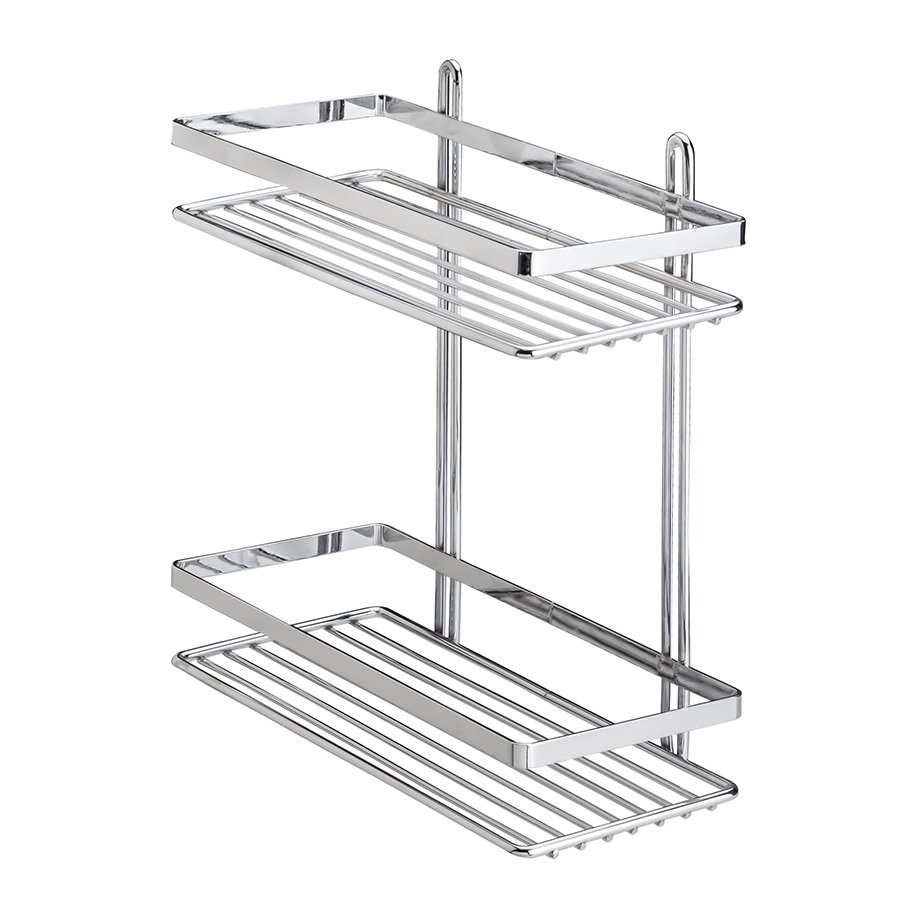 ES067 Bath Shelf Sheet Bar 2 Tiers 5 mm / Chrome