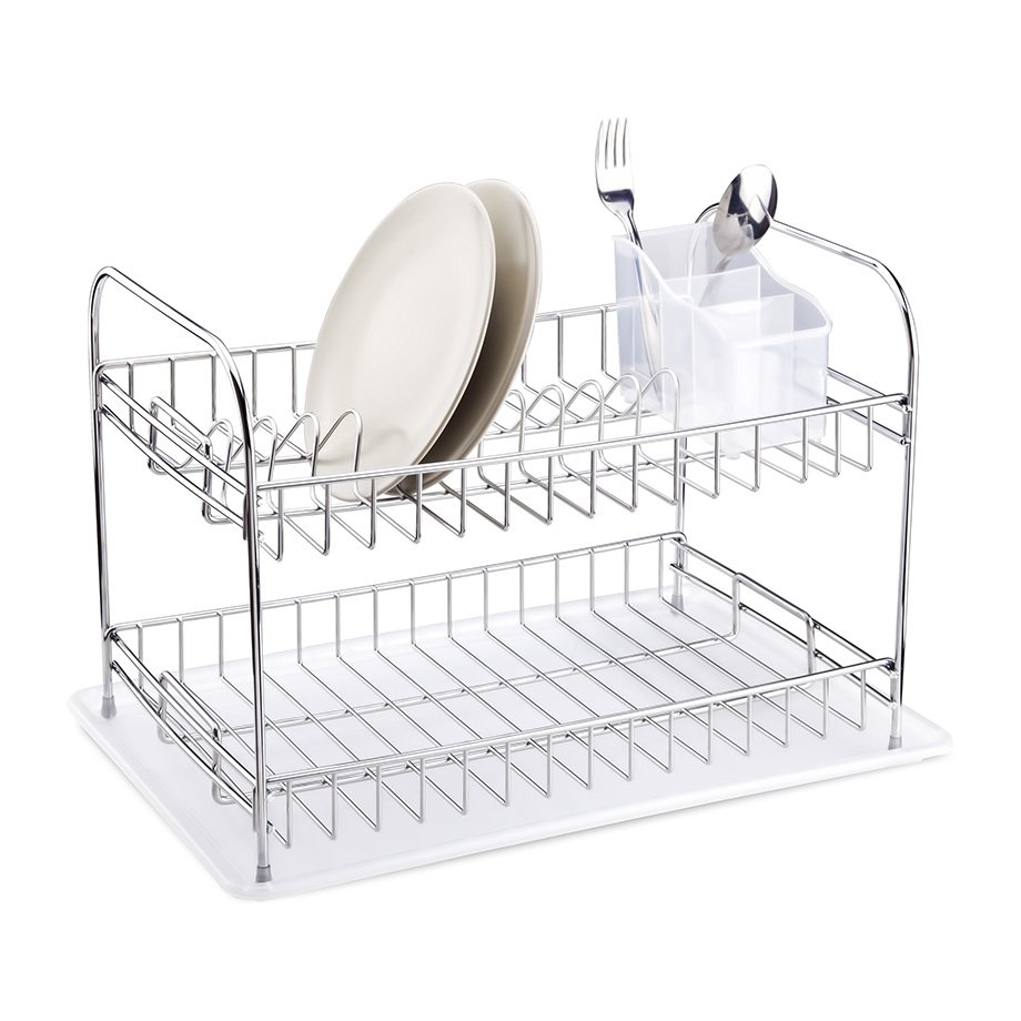 KB007 Dish Drainer Two Tiers, Foldable with Cutlery and Tray / Chrome