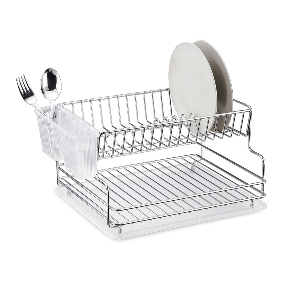 KB005 Dish Drainer Two Tiers with Cutlery and Tray / Chrome
