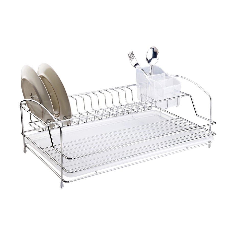 KB008 Dish Drainer Two Tiers with Cutlery and Tray / Chrome