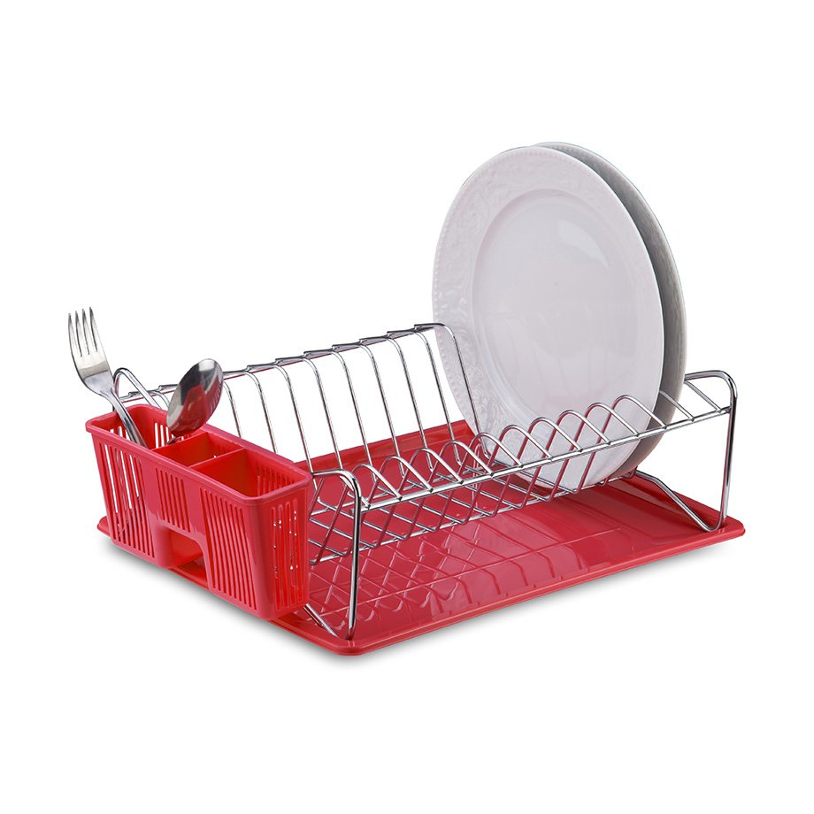 KB014 Dish Drainer with Cutlery and Tray / Red