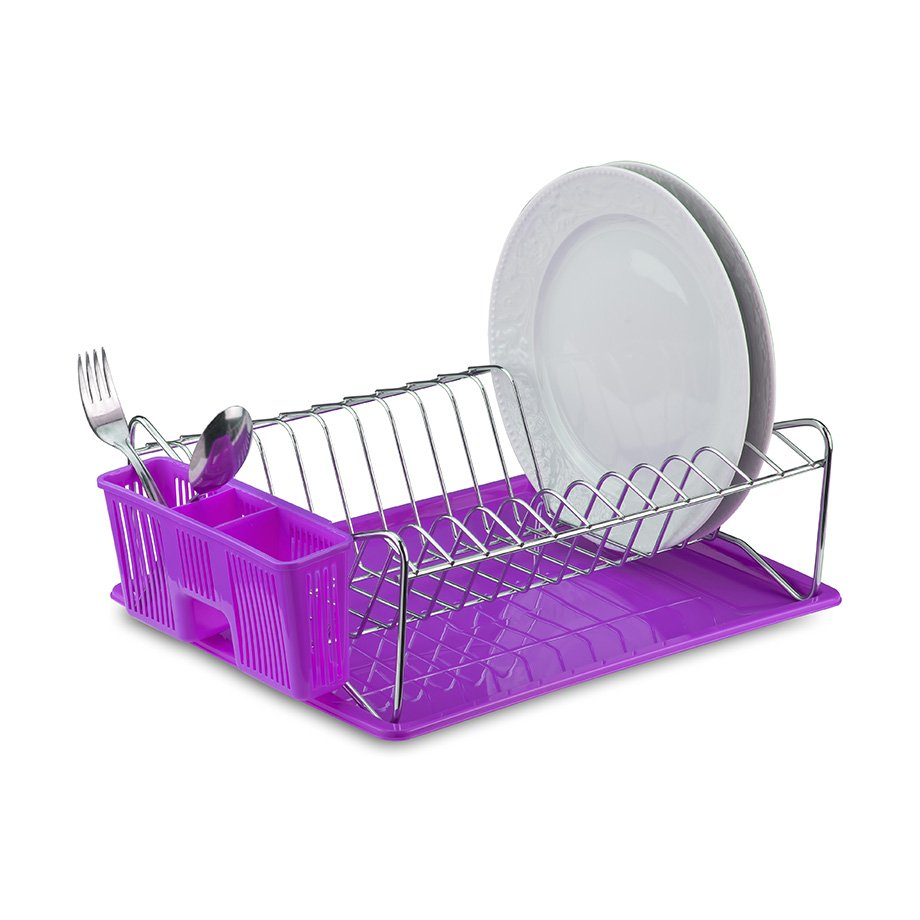 KB014 Dish Drainer with Cutlery and Tray / Purple