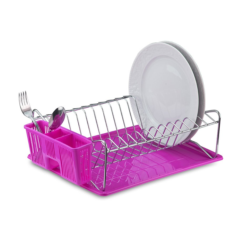 KB014 Dish Drainer with Cutlery and Tray / Pink