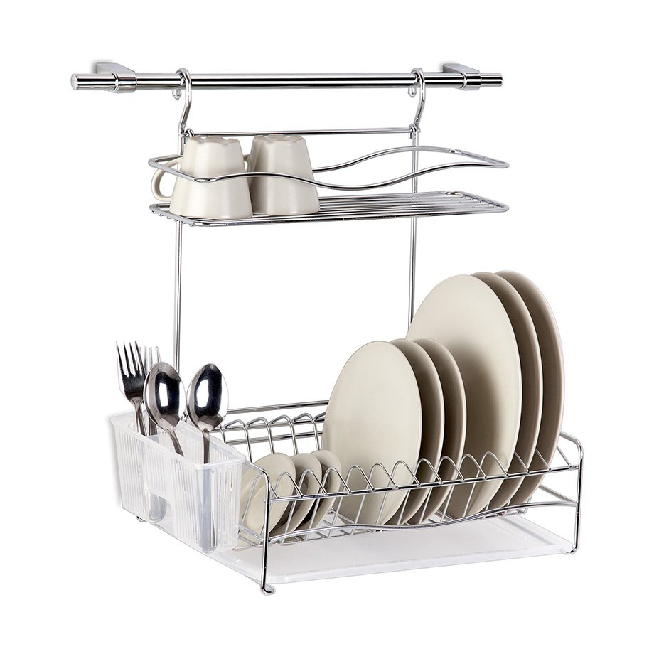 KB013 Dish Drainer Two Tiers, Wall Mounted with Cutlery, Tray and Hanging Bar / Chrome