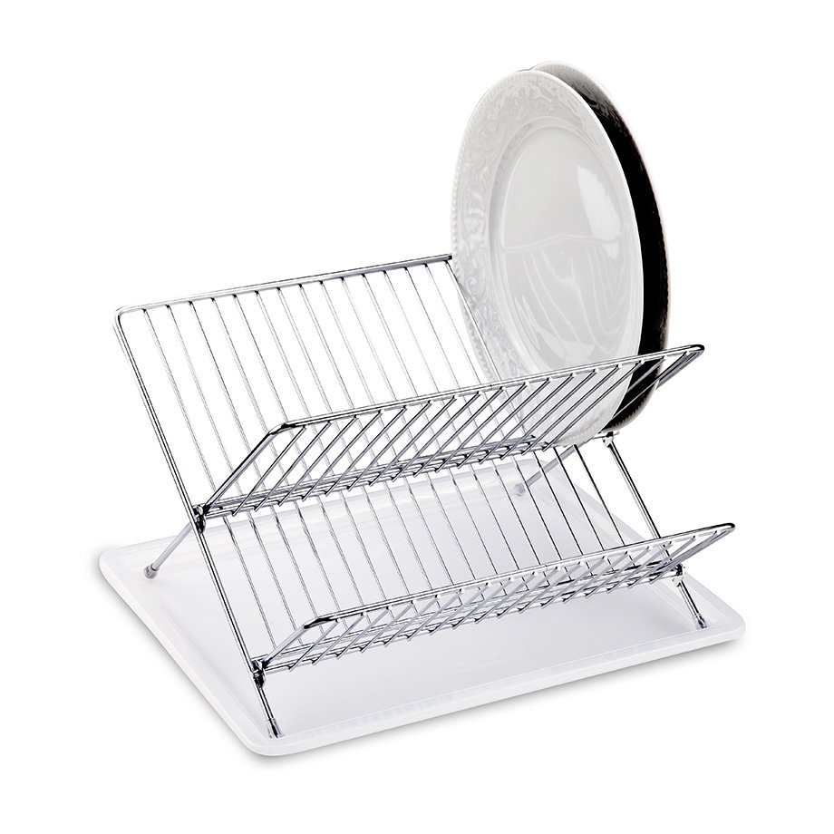 KB004 Dish Drainer Two Tiers, Foldable with Cutlery and Tray / Chrome