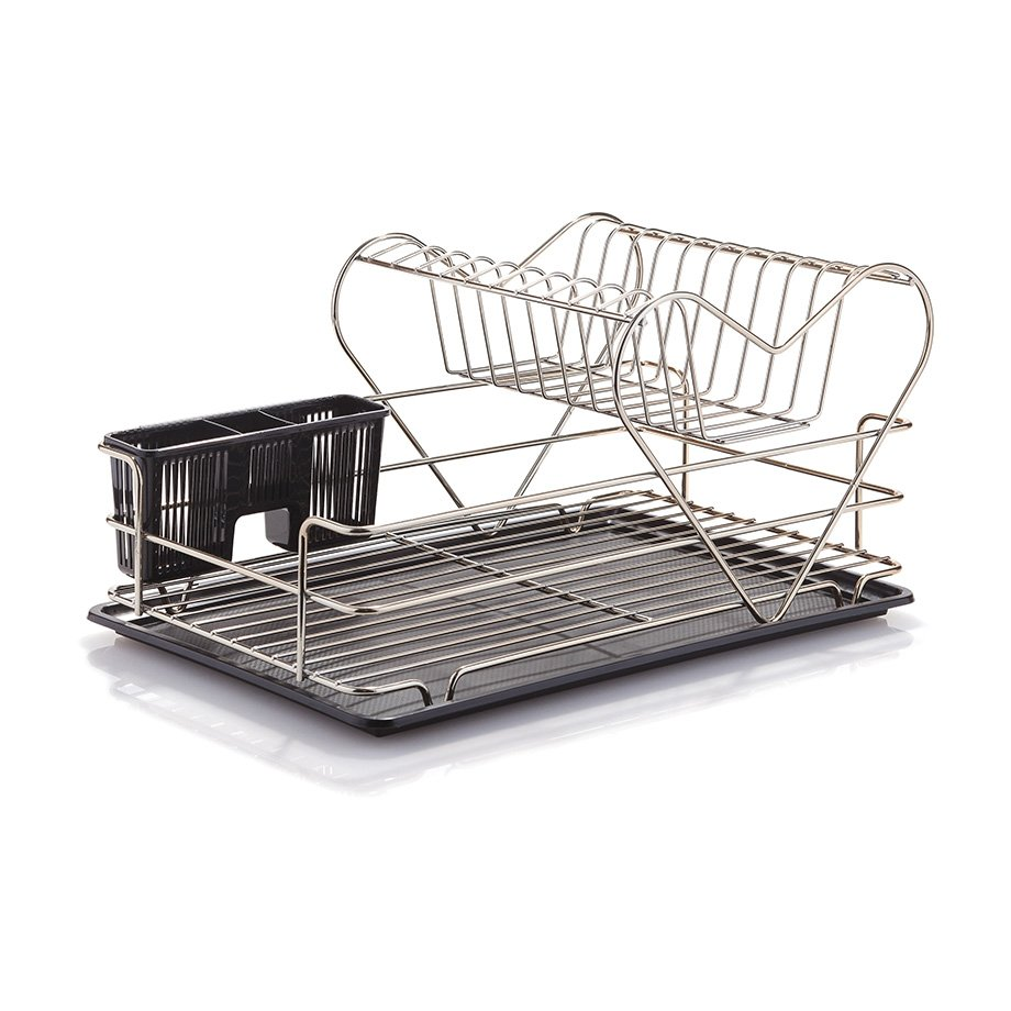 KB011G Dish Drainer Two Tiers with Cutlery and Tray / Goldish