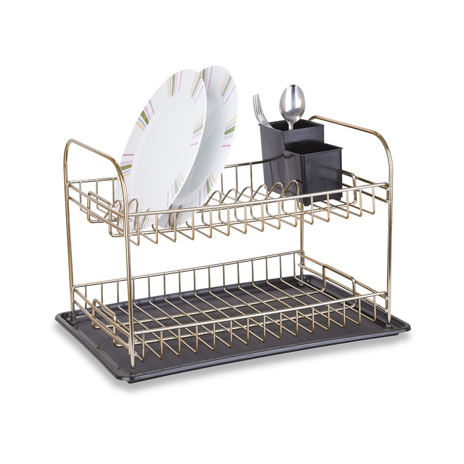 KB007G Dish Drainer Two Tiers, Foldable with Cutlery and Tray / Goldish