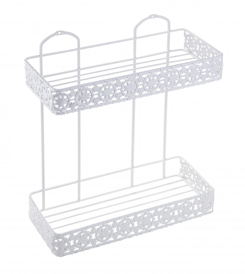 BK078W Bath Shelf Two Tiers 4mm / White