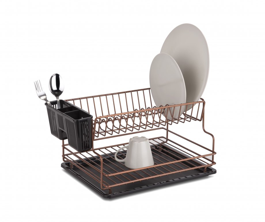 KB005C Dish Drainer Two Tiers with Cutlery and Tray / Copper