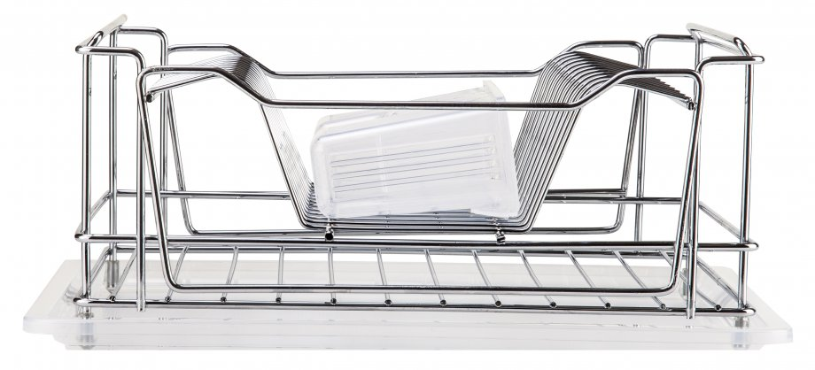 KB010 Dish Drainer Two Tiers, Foldable with Cutlery and Tray / Chrome