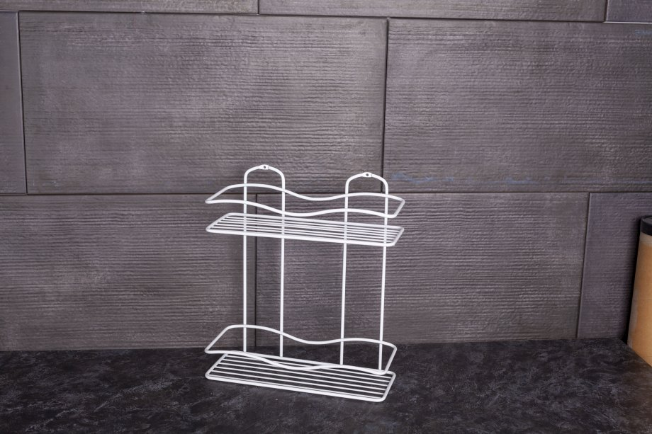 BK012W Bath Shelf Two Tiers 5 mm / White