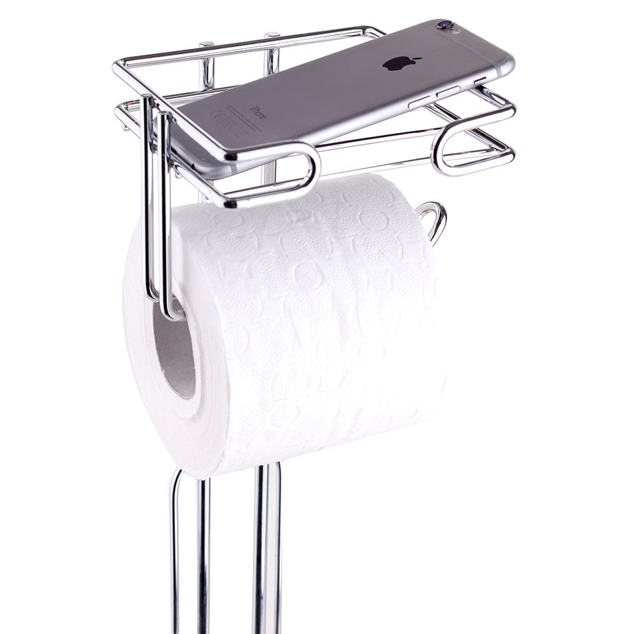 MG096 Toilet Paper Holder Stand with Toilet Brush / Chrome
