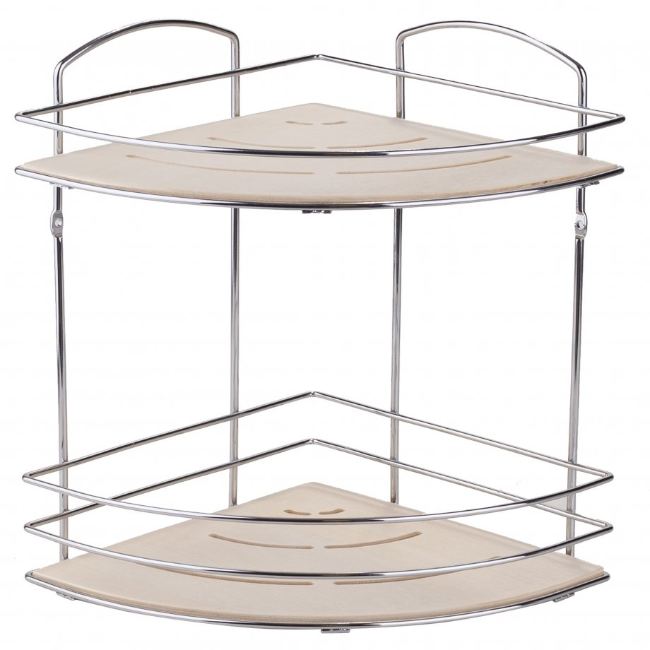 BK074 Wooden Bath Corner Shelf Two Tiers / Chrome