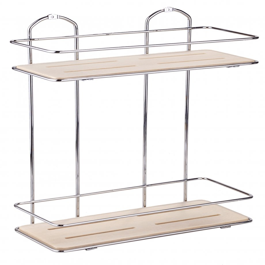 BK076 Wooden  Bath Shelf Two Tiers / Chrome