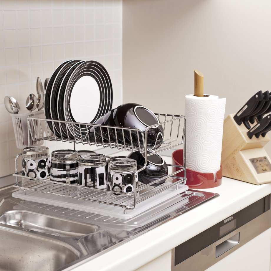 KB005SS Dish Drainer Two Tiers with Cutlery and Tray / INOX