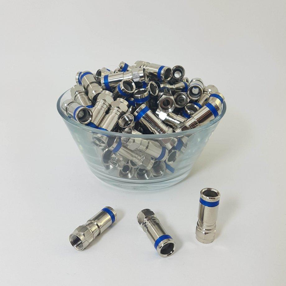 RG6 Sıkmalı F Konnektör (Mavi)  ISL - 033